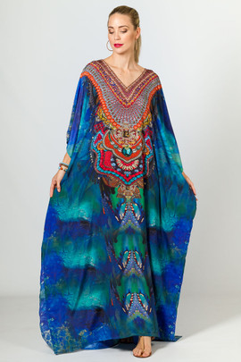 Sage Embellished Kaftan - Long