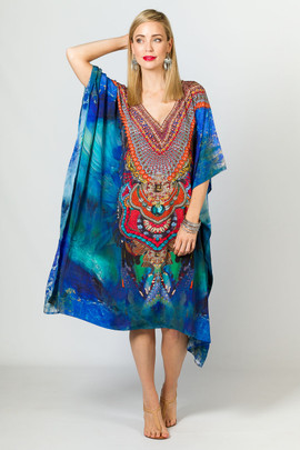 Sage Embellished Kaftan - Knee Length