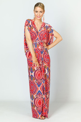 Kaftan Style Maxi Dress - Red Graphic