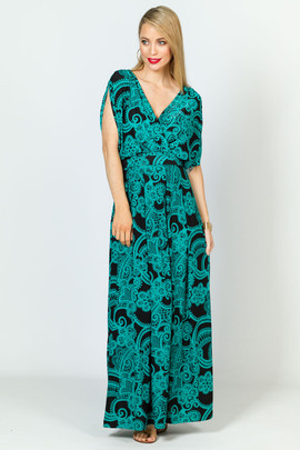 Batwing Style Maxi Dress - Green Print
