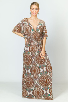 Callie Maxi Dress -  Brown Graphic