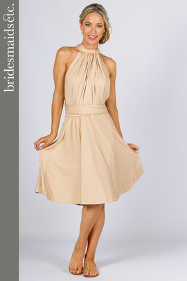 Bridesmaids Etc. Multi Way Wrap Midi- Champagne