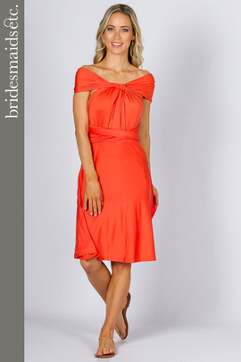 Bridesmaids Etc. Multi Way Wrap Midi - Tangerine