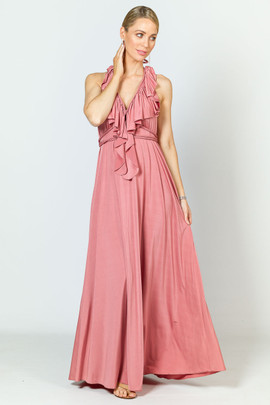Low Back Ruffle Luxe Maxi Dress - Rose