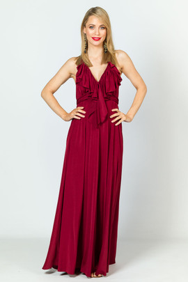 Low Back Ruffle Luxe Maxi Dress - Burgundy