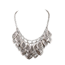 Hollow Leaves Silver Necklace