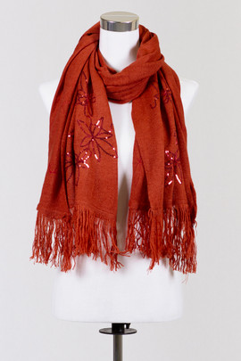 Sequin Rust Scarf