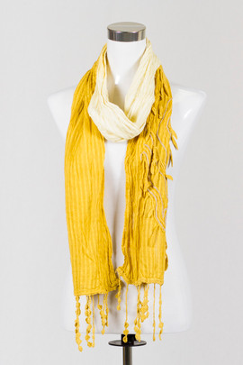 Embroidered Mustard Scarf