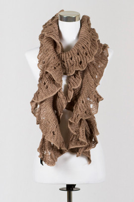 Knitted Ruffle Brown Scarf
