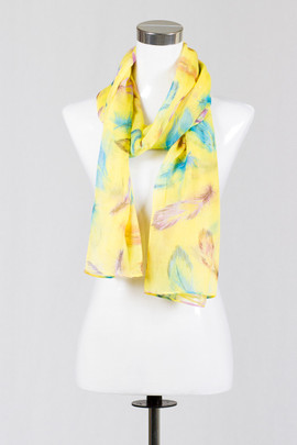 Feathers Yellow Scarf
