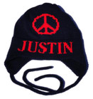 Butterscotch Personalized Large Peace Sign Knitted Hat with Earflaps