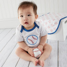 """Little Slugger"" Baseball Themed Three Piece Layette Set"