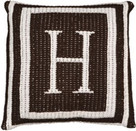 "Butterscotch Personalized Monogrammed Double Border Knitted Pillow (15"" x 15"")"