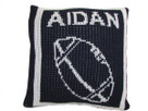 "Butterscotch Personalized Football Knitted Pillow (15"" x 15"")"