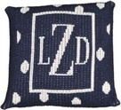 "Butterscotch Personalized Monogrammed Polka Dots and Thin Border Knitted Pillow (15"" x 15"")"