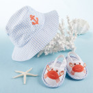 """Coastal Cutie"" Blue Sun Hat and Spa Booties Baby Gift Set"