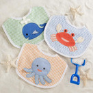 """Beach Buddies"" 3-Piece Bib Baby Boy Gift Set"