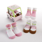 """Fairway Footies"" 3 Pair of Socks Baby Girl Golf Themed Gift Set"