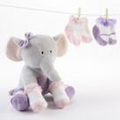 """Tootsie in Footsies"" Plush Elephant and Socks Baby Girl Gift Set"