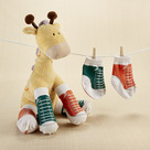 """Herbie in Hightops"" Plush Giraffe and 2 Pairs of Socks Baby Gift Set"