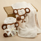 """Hug Me Monkey"" Plush Velour Baby Blanket Baby Gift Set"