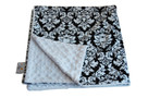 Black Dandy Damask Baby Elephant Ears Blanket