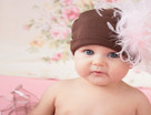 Brown Cotton Baby Hat with Large Curly Marabou