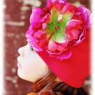 Raspberry Peony Toddler Hat