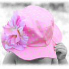 Candy Pink Sunhat with Lime Dots - Peony