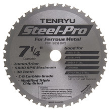"Steel-Pro Saw Blade, 7-1/4"" Dia, 38T, 0.079"" Kerf, 20mm Arbor, Tenryu PRF-18538BW2"