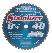 "Steel-Pro Stabilizer Saw Blade, 8-1/4"" Dia, 48T, 0.087"" Kerf, 5/8""KO Arbor, Tenryu PRF-21048BWK"