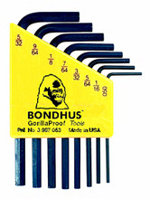 Bondhus 12232 - Set of 8 Hex L-keys .050-5/32 - Short