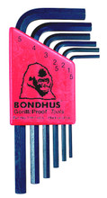Picture for reference only. Actual product contains sizes listed in description. Bondhus 12292 - Set of 7 Hex L-keys 1.5-6mm - Short