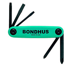 Bondhus 12543 - Set of 5 Utility Fold-up Tools #1 Phillips, #2 Phillips, 3/16 Slotted, #1 Square, #2 Square