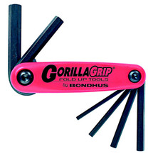 Image is for reference only. Actual tool is as described. Bondhus 12592 - Set of 7 Hex Fold-up Tools 1.5-6mm