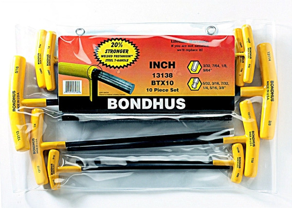 New Bondhus 12 Pc Hex Ball End Blades Set Standard Lifetime Warranty