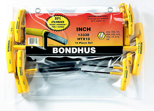Bondhus 15338 Set of 10 Hex T-handles 3//32-3//8-Inch 9-Inch Length