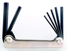 Image is for reference only. Actual tool is as described. Bondhus 14589 - Set of 9 Hex Fold-up Tools 5/64-1/4