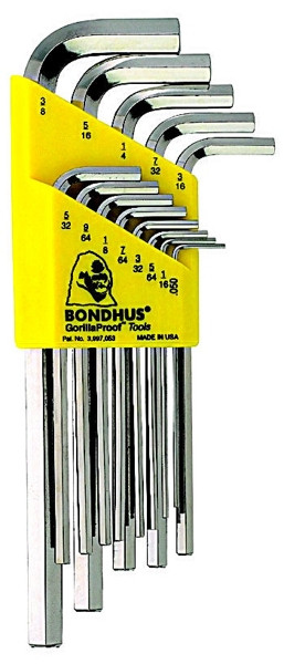 Long 1//16-1//4-Inch Bondhus 16138 Set of 10 Hex L-wrenches BriteGuard Finish