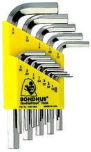 Bondhus 16237 - Set of 13 BriteGuard Plated Hex L-keys .050-3/8 - Short