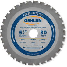 Oshlun SBF-054030 5-3/8-Inch 30 Tooth MTCG Saw Blade with 20mm Arbor (5/8-Inch and 10mm Bushings) for Mild Steel and Ferrous Metals