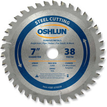 Oshlun SBF-070038 7-Inch 38 Tooth TCG Saw Blade with 20mm Arbor for Mild Steel and Ferrous Metals