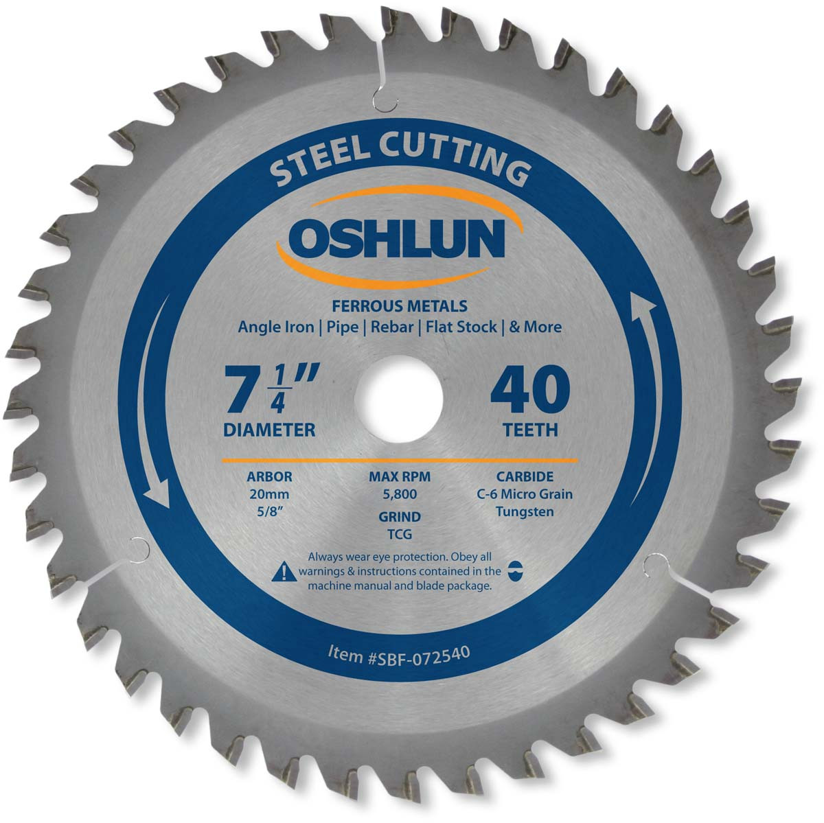 Oshlun SBF-067540 6-3//4-Inch 40 Tooth TCG Saw Blade w//20mm Arbor for Mild Steel