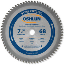 Oshlun SBF-072568 7-1/4-Inch 68 Tooth ATB Saw Blade with 5/8-Inch (Diamond Knockout) for Thin Mild Steel and Ferrous Metals