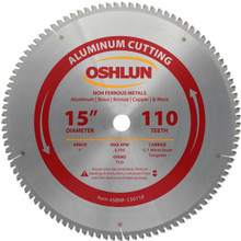 Oshlun SBNF-150110 15-Inch 110 Tooth TCG Saw Blade with 1-Inch Arbor for Aluminum and Non Ferrous Metals