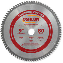 Oshlun SBNF-090080 9-Inch 80 Tooth TCG Saw Blade with 1-Inch Arbor for Aluminum and Non Ferrous Metals