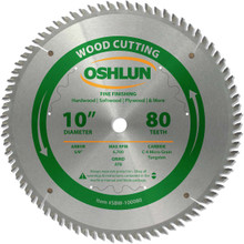 Oshlun SBW-100080 10-Inch 80 Tooth ATB Fine Finishing Saw Blade with 5/8-Inch Arbor