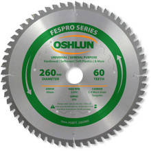 Oshlun SBFT-260060 260mm 60 Tooth FesPro General Purpose ATB Saw Blade with 30mm Arbor for Festool Kapex KS 120