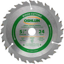 Oshlun SBW-055024 5-1/2-Inch 24 Tooth ATB General Purpose and Trimming Saw Blade with 5/8-Inch Arbor (1/2-Inch and 10mm Bushings)