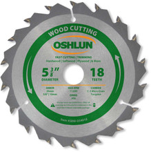 Oshlun SBW-054018 5-3/8-Inch 18 Tooth ATB Fast Cutting and Trimming Saw Blade with 20mm Arbor (5/8-Inch and 10mm Bushings)